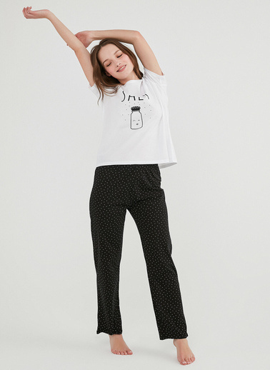 Penti Kadın Çok Renkli Gift Salt Pantolon Pijama Takım PNVA3J5Z21IY Renkli